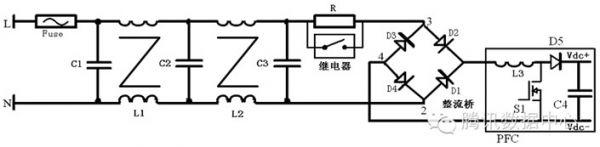 继电器将软启动电阻短路,减小损耗,d1~d4为整流桥,l3,s1和d5为pfc电路
