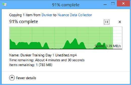 图2. 在有些时候,文件复制过程中速度会发生变化