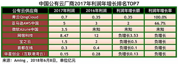 中国公有云厂商2017年收入利润综合排名5