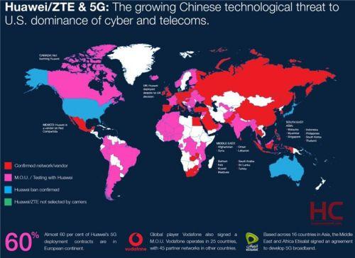 华为5G设备全球分布图